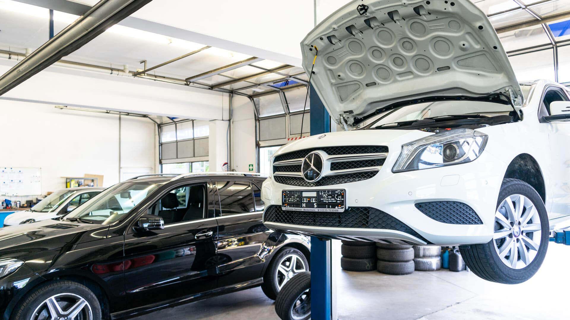 Meisterwerkstatt von Automobile Obermeier in Meckenheim mit Mercedes-Benz Fahrzeugen